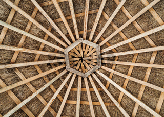 Wood frame and thatched roof