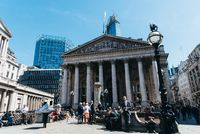 The Royal Exchange and The Bank of England in London