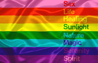 the Gay Pride flag composed of the eight colors of the rainbow