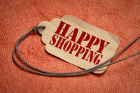 happy shopping on a price tag with a twine