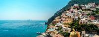 Panorama of amazing Amalfi coast. Positano, Italy