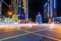 City street at night in Chengdu, China
