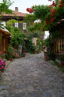Beautiful flower and narrow street with restaurants and cafes of the ancient seaside town.