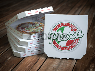 Pizza boxes  with pizza on vintage wooden planks.