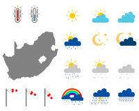 Karte von Südafrika mit Wettersymbolen - Map of South Africa with weather symbols