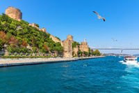 Rumeli Hisari castle, the Bosphorus and the Fatih Sultan Mehmet Bridge, Istanbul, Turkey