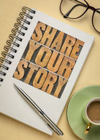 share your story word abstract and concept