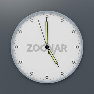 a clock shows five o'clock