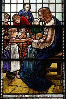 evangelisch-lutherische St.-Johannis-Kirche Hitzacker - Buntglasfenster Lasset die Kindlein zu mir kommen