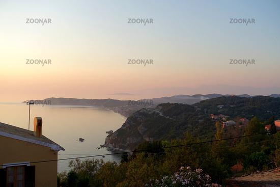 Picturesque sunset in Afionas, Corfu, Greece
