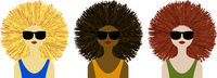 Beautiful women in summer with sunglasses and mane. Isolated