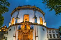 Illuminated Serra do Pilar Monastery at dusk, Porto, Portugal, Europe