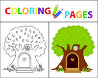Coloring book page for kids. House in the tree. Sketch outline and color version. Childrens education. Vector illustration.
