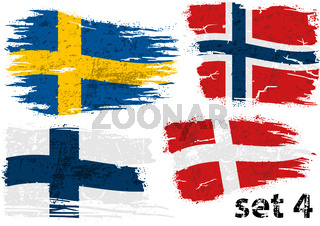 Torn Flag Sweden, Norway, Finland and Denmark