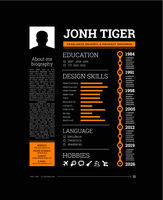 Cv resume template vector with a timeline of work, training, description of skills, hobbies and other information