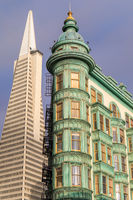 San Francisco, California - June 30, 2018: Columbus Tower (aka. the Sentinel Building) and the Trans