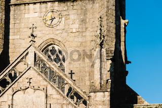Detail of the facade of the churh of Saint Ronan in Locronan
