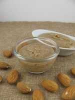 Homemade almond mus in two little bowls