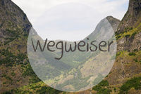 Valley And Mountain, Norway, Wegweiser Means Guidance