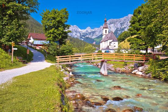 Sankt Sebastian pilgrimage church with alpine turquoise river alpine landscape view,