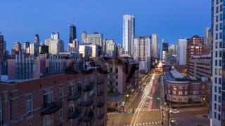Busy Street Night Falls Headlights Brake Lights Chicago Metro Area