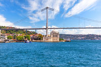 Ortakoy Mosque and the Bosphorus Bridge, view from the ferry, Istanbul, Turkey