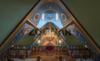 Ben Lomond, California - May 24, 2018: Exterior of Saints Peter and Paul Antiochian Orthodox Church.