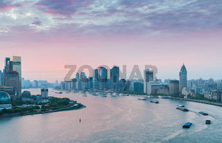 huangpu river bend in early morning