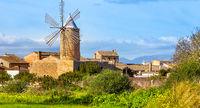 Algadia, Mallorca, Spain, December 17, 2018 An old windmill in the city