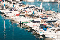 Motor boats, motorboats and sailboats at Harbour in Tenerife