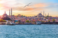 The Suleymaniye Mosque and the Rustem Pasha Mosque, view from the Bosphorus, Istanbul, Turkey