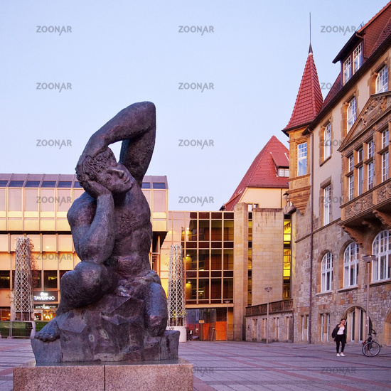 new and old town hall with sculpture, Bielefeld, North Rhine-Westphalia,Germany, Europe