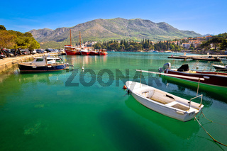 Colorful turquoise harbor in town of Cavtat