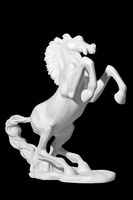 Classic white marble statue of a horse