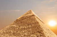 The Pyramid of Khafre in Giza, Egypt, detailed view