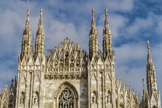 Milan, Italy Duomo facade detail.