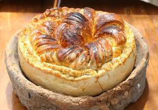 Homemade traditional Balkan pastry dish Pogaca
