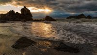 A Rocky Beach Landscape at Sunset, Humboldt County, California
