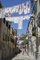 laundry dries on clotheslines, Castello district, Venice, Italy, Europe