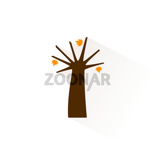 Autumn tree icon with shadow. Flat vector illustration