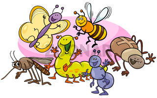 happy insects cartoon characters group