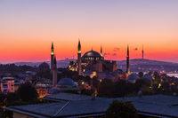 Hagia Sophia in Istanbul, colorful sunset view