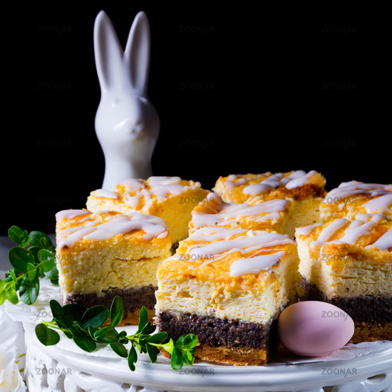 delicious easter poppy seed cake with white glaze