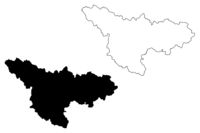 Timis County (Administrative divisions of Romania, Vest development region) map vector illustration, scribble sketch Timis map