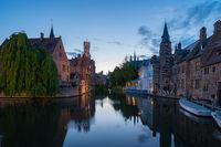 Bruges city skyline at night in Bruges, Belgium