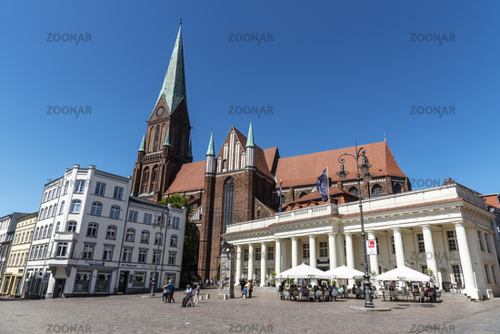 cathedral, market place, Schwerin, Mecklenburg-Western Pomerania, Germany, Europe