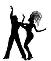 Mambo dancers silhouettes