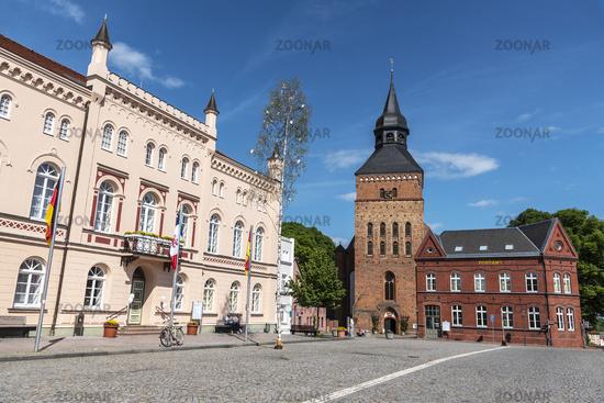 town hall, post office, church, Sternberg, Mecklenburg-Western Pomerania, Germany, Europe