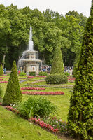 View of famous landmark of Peterhof Palace and its gardens close to city of St. Petersburg in Russia