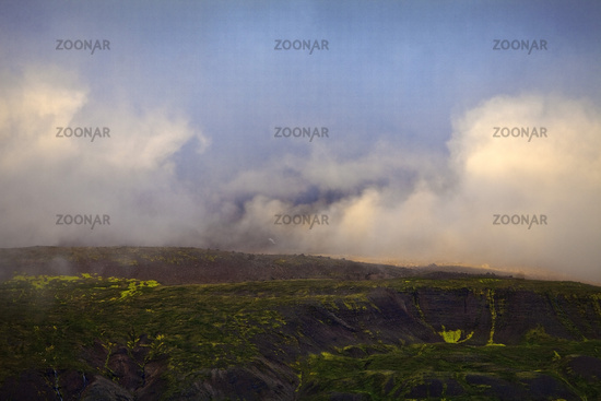 Clouds on Mount Sandfell, East Iceland, Iceland, Europe